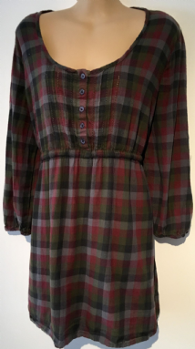 F&F BURGUNDY CHECKED BRUSHED COTTON SHIRT TOP SIZE UK 18